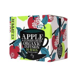 Apple and Elderflower Infusion 10 bags 25g | Organic Vegan No Added Sugar | Clipper