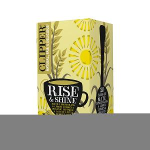 Rise and Shine Infusion with Maté Lemongrass and Lemon Verbena 20 bags 40g | Organic Vegan No Added Sugar | Clipper