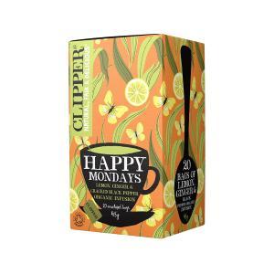 Happy Mondays Μείγμα Εκχυλισμάτων με Λεμόνι Τζίντζερ και Μαύρο Πιπέρι 20 φακελάκια 35g | Βιολογικό Vegan | Clipper