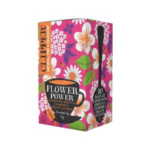 Flower Power Infusion Mix with  Elderflower Hibiscus and Chamomile 20 bags 35g | Organic Vegan No Added Sugar | Clipper