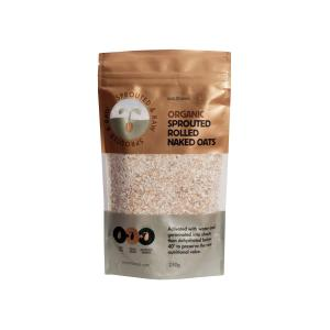 Raw Sprouted Rolled Naked Oats 250g | Organic Vegan Gluten Free | Sun & Seed