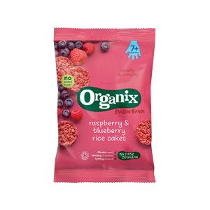 Raspberry and Blueberry Rice Cakes Fingerfoods 50g | Nutritious Organic Vegan Gluten Free Snack For Kids | Organix