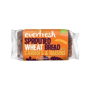 Sprouted Wheat Bread with Carrots and Raisins 400g | Organic Vegan No Added Salt | Everfresh