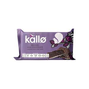 Ρυζογκοφρέτες Λεπτές με Σοκολάτα Γάλακτος Βελγίου 90g | Βιολογικό Σνακ Χωρίς Γλουτένη Χωρίς Αλάτι | Kallo