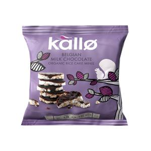 Mini Rice Cakes with Belgian Milk Chocolate 40g | Organic Snack No Added Salt | Kallo