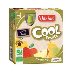 Fruit Dessert with Apple Pear and Acerola 4x90gr | Organic No Added Sugar Vegan Vegetarian | Vitabio