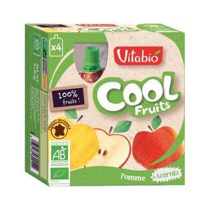 Cool Fruits  Μήλο και Ασερόλα 4x90g | Βιολογικό Επιδόρπιο Φρούτων Χωρίς Ζάχαρη | Vitabio