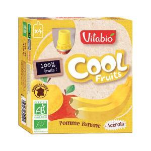 Cool Fruits Μήλο Μπανάνα Ασερόλα 4x90g | Βιολογικό Επιδόρπιο Φρούτων Χωρίς Ζάχαρη | Vitabio