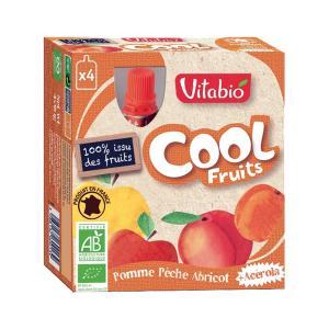 Cool Fruits Μήλο Ροδάκινο Βερίκοκο Ασερόλα 4x90g | Βιολογικό Επιδόρπιο Φρούτων Χωρίς Ζάχαρη | Vitabio