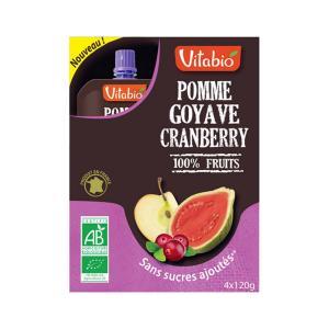 Πολτός Superfuits Γκουάβα Κράνμπερι Μήλο (4x120g) 480g | Βιολογικός Χωρίς Ζάχαρη Χωρίς Αλάτι Vegan | Vitabio