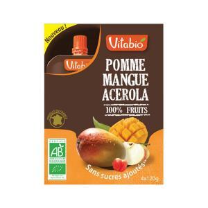Πολτός Superfuits Μάνγκο Ασερόλα Μήλο (4x120g) 480g | Βιολογικός Χωρίς Ζάχαρη Χωρίς Αλάτι Vegan | Vitabio