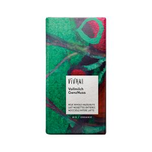 Milk Chocolate with Whole Hazelnuts 100g | Organic Chocolate | Vivani