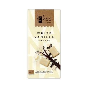 Vegan White Chocolate with Vanilla and Rice Drink 80g | Organic i-choc  Chocolate | Vivani