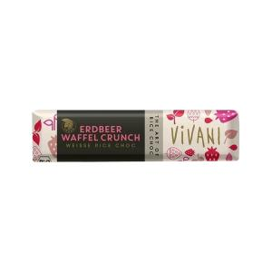 White Rice Choc Bar with Strawberry and Waffer Crunch 35g | Organic Chocolate | Vivani