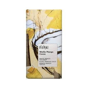 White Chocolate with Mango, Coco and Yoghurt 80g | Organic Chocolate | Vivani