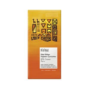 Dark Chocolate 89% Cacao with Ginger and Turmeric 80g | Organic Chocolate | Vivani