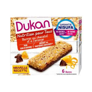 Dukan Oat Bran Bars with Chocolate and Orange (6x25g) 150g | Healthy Snack High Fiber No Added Sugar | Dukan