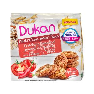Dukan Oat Bran Crackers with Tomato and Peppers 100g | Sugar Free High Fiber Healthy Snack | Dukan