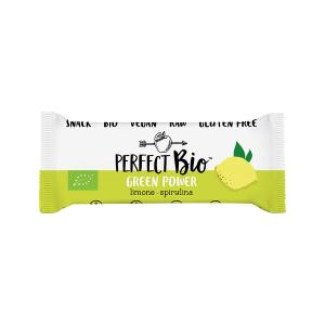 Green Power Raw Bar with Lemon and Spirulina 38g | Gluten Free Organic Vegan Snack | Perfect Bio