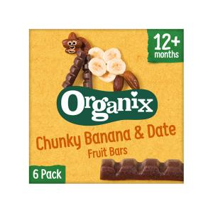Organic Banana and Dates Fruit Bars (6x17g) 102g | Vegetarian Snack for Kids No Added Sugar No Added Salt | Goodies Organix