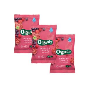 Raspberry and Blueberry Rice Cakes Fingerfoods (3 bags of 50g)- Nutritious Organic Vegan Gluten Free Snack For Kids | Organix