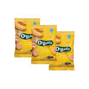 Banana Rice Cakes Fingerfoods (3 bags of 50g) - Nutritious Organic Vegan Gluten Free Snack For Kids | Organix