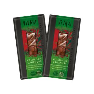 Milk Chocolate with Whole Hazelnuts (2 pieces of 100g) - Organic Chocolate | Vivani