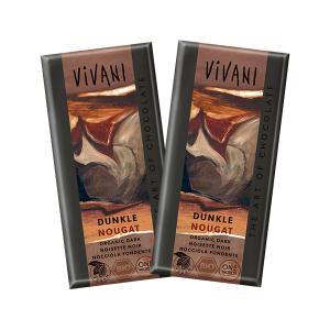 Dark Nougat Chocolate (2 pieces of 100g) - Organic Chocolate | Vivani
