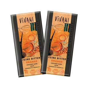 Dark Chocolate 70% Cocoa with Orange (2 pieces of 100g) - Organic Chocolate | Vivani