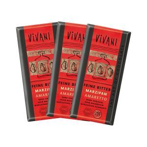 Dark Chocolate with Marzipan and Amaretto (3 pieces of 100g) - Organic Chocolate | Vivani