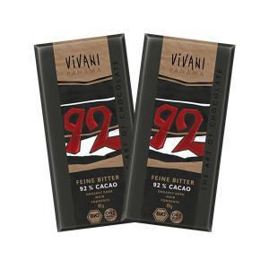 Dark Chocolate with 92% Cocoa Panama & Coconut Blossom Sugar (2 pieces of 80g) - Organic Chocolate | Vivani