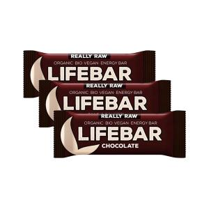 Raw Chocolate Energy Bar (3 pieces of 47g) - Raw Organic Vegan Snack Gluten Free | Lifefood