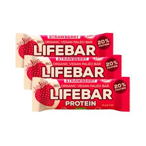 Raw Protein Bar with Strawberry (3 pieces of 47g) - Raw Organic Vegan Snack Gluten Free | Lifefood