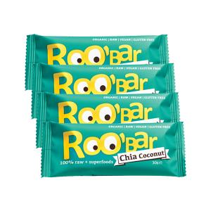 Raw Bar with Chia and Coconuts (4 pieces of 30g) - Raw Organic Vegan Snack Gluten Free |Roo Bar