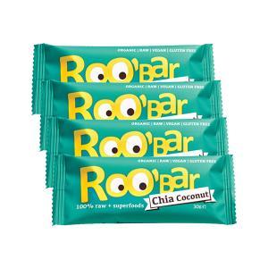Μπάρα με Σπόρους Chia και Καρύδα (4 τεμάχια των 30g) - Ωμό Βιολογικό Σνακ Χωρίς Γλουτένη | Roobar