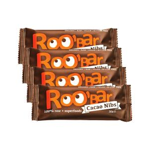 Organic Raw Bar with Cacao Nibs (4 pieces of 30g) - Roobar