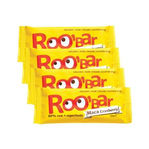 Ωμή Μπάρα με Σκόνη Maca και Κράνμπερυ (4 τεμάχια των 30g) - Roobar