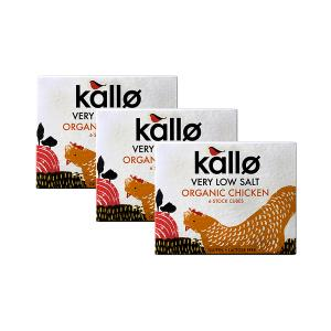Organic Chicken Stock Cubes Very Low Salt (3 pieces of 48g) - Gluten Free Lactose Free No Added Sugar | Kallo