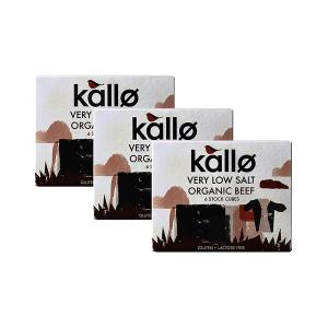 Organic Beef Stock Cubes Very Low Salt (3 pieces of 48g) - Gluten Free Lactose Free No Added Sugar | Kallo