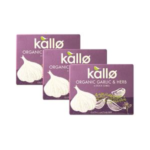 Organic Garlic and Herb Stock Cubes (3 pieces of 66g) -  Vegan Gluten Free Lactose Free | Kallo
