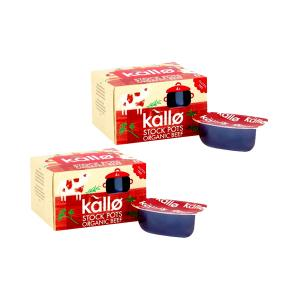 Concentrated Beef Stock Pots 4x24g - Pack of 2 | Organic Gluten Free | Kallo