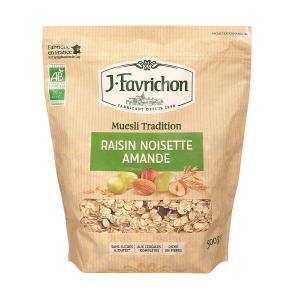 Organic Muesli with Raisins Hazelnuts Almonds 500g | No Added Sugar | Favrichon