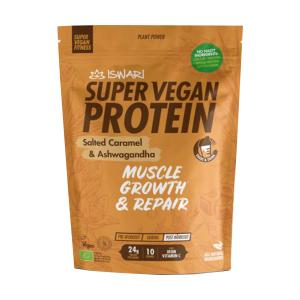 Super Vegan Protein with Salted Caramel and Ashwagandha 350g | Organic Vegan Gluten Free | Iswari