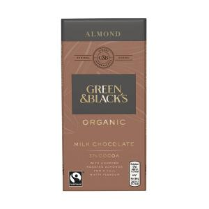 Organic Milk Chocolate Bar with Almond 90g | Green and Blacks