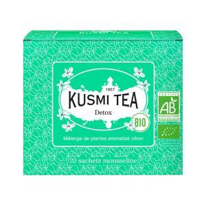 Herbal Tea Detox 20 Muslin Tea Bags | Organic Blend of Mate Green Tea and Lemongrass | Kusmi Tea