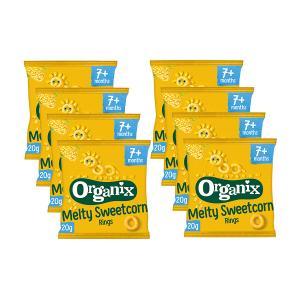 Sweetcorn Rings Fingerfoods (8 bags of 20g) | Nutritious Organic Vegan Gluten Free Snack For Kids | Organix