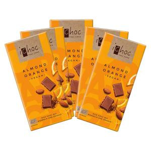 Vegan Chocolate Almond-Orange with Rice Drink (5 pieces of 80g) - Organic i-choc  Chocolate | Vivani
