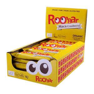 Organic Raw Bar with Maca Powder and Cranberry (20 pieces of 30g) | Roobar