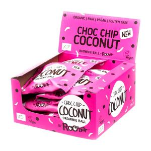 Brownie Ball Choc Chip and Coconut (12 pieces of 40g) - Raw Organic Snack Gluten Free | Roobar
