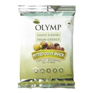 Pitted Olive Snack - Green & Kalamata Olive Mix 150g - Olymp